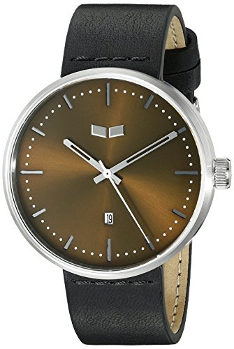Vestal Unisex RST3L03 Roosevelt Leather Analog Display Quartz Black Watch