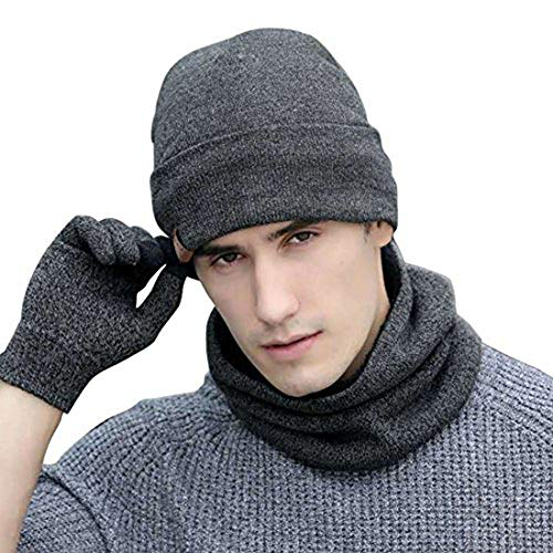 Neonr Winter Knitted Hat Warm Scarf Thick Gloves Three Sets Wool Plus Velvet Collar for Men and Women,3 Pieces(Gray) ()