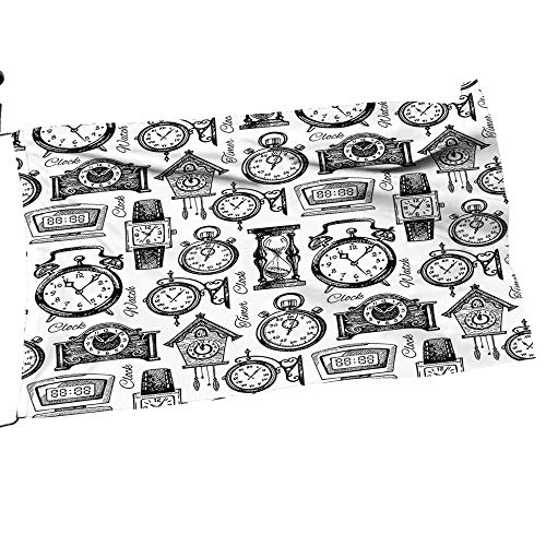 painting-home Garden Flag Army Drawn Clocks and Watch Ative Pattern Black and White Premium Quality Durable Material28 x 42