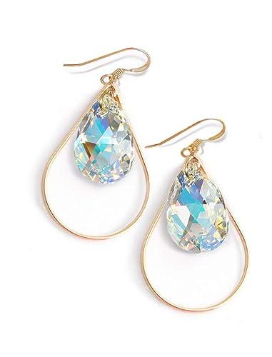 599e457b3 SELFIE Swarovski Crystal Earrings   Gold Drop Earrings For Women   Teardrop    Gold Dangle   14K Gold Filled   Hypoallergenic   Women Jewelry   Birthday  ...