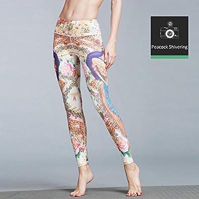 MAYUAN520 Pantalon De Yoga Taille Haute Imprimé Animal 3D Compression Short Quick Dry Bar D'Entraînement Sport Fitness,Vêtements Leggings Peacock Shiering,M