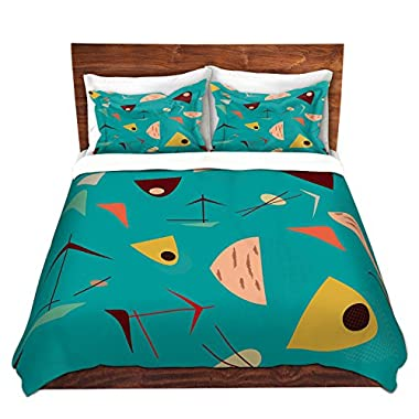Duvet Cover Brushed Twill Twin, Queen, King SETs from DiaNoche Designs by Nika Martinez - Mid Century Hero Blue Home Décor, Bedroom and Bedding ideas