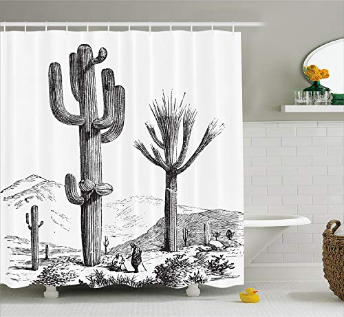 Ambesonne Cactus Decor Shower Curtain, Sketchy Hand Drawn Print of Desert Plants with Mexican Travellers Image, Fabric Bathroom Decor Set with Hooks, 70 Inches Long, Charcoal Grey ()