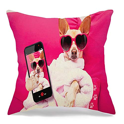 Decorative-Linen-Square-Throw-Pillow-Cover-Body-Digital-Meditate-Cozy-Photography-Chihuahua-Dog-Relaxing-Pet-Spa-Wellness-Center-Jack-Fitness-Cozy-Cushion-Pillowcase-Case-for-Couch-Car-18-x-18-Inch
