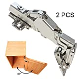 Gobrico Concealed Kitchen Cabinet Door Hinges 165 Degree Soft Closing Frameless Mounting Full Overlay-2 Pieces(1Pair)