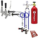 Kegco BF 2SCK-5T Standard Two Keg Door Mount Kegerator Beer Tap Conversion Kit with 5 lb Co2 Tank, Chrome