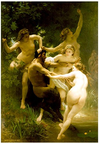 William-Adolphe Bouguereau Nymphs and Satyr Art Print Poster 13 x 19in with Poster Hanger (Bouguereau Reproductions)
