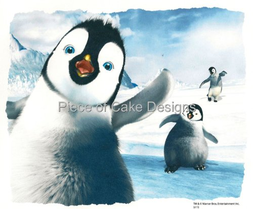 1/4 Sheet ~ Happy Feet Waving Birthday ~ Edible Image Cake/Cupcake Topper!!!