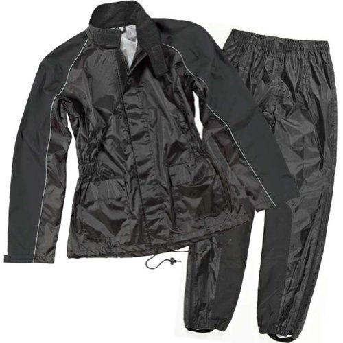 Joe Rocket RS-2 Two-Piece Women's Street Motorcycle Rainsuit - Black/Black/Medium (Best Waterproof Motorcycle Suit)