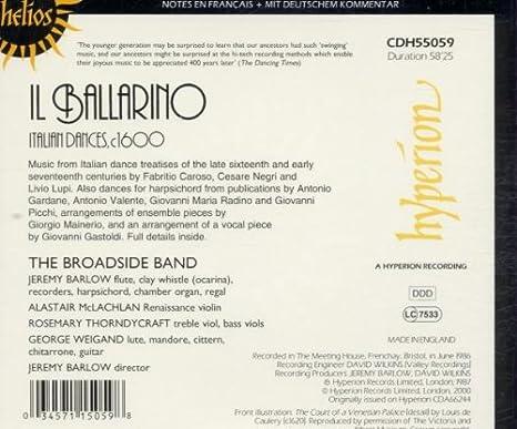 Il Ballarino : Italian Dances: Barlow, Broadside Band: Amazon.es ...