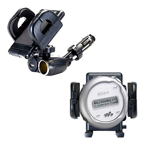 Dual Car Cigarette Lighter Charger Mount and Holder for the Sony Walkman NW-E103 E105 E107 Features 12V Adapter and Charging USB Port