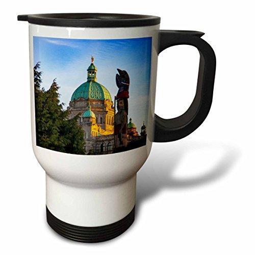 3dRose Danita Delimont - Architecture - Totem Pole, Parliament Building, Victoria, Vancouver Island, Canada - 14oz Stainless Steel Travel Mug ()