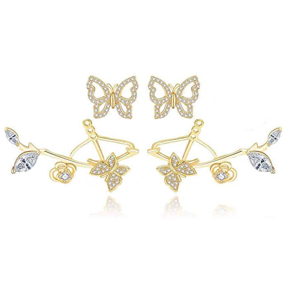 Butterfly Earrings for Women Cubic Zirconia Earrings Ear Jacket Two Ways Wear 18K Gold Plated Butterfuly Earrings Perfect for Daily Wear