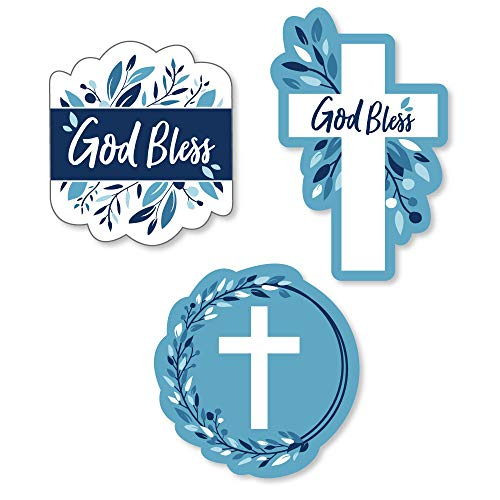 Big Dot of Happiness Blue Elegant Cross - DIY Shaped Boy Religious Party Cut-Outs - 24 -