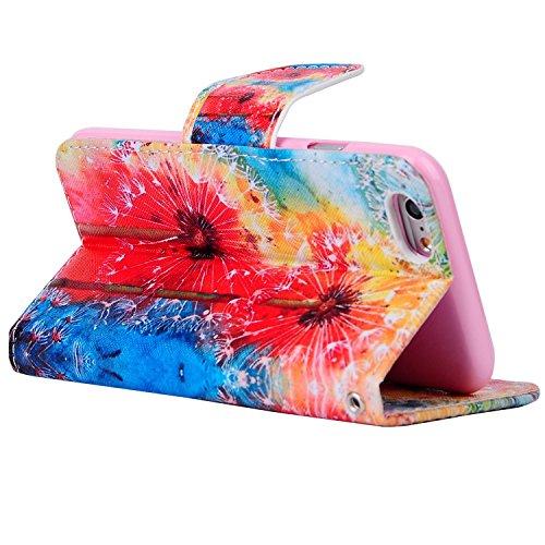Etche iPhone 6 Plus/6S Plus 5.5 pouces Coque,Ultra Slim Mince Flip PU Cuir Housse Etui coque pour iPhone 6 Plus/6S Plus 5.5 pouces,Colorful pissenlit pétales de fleurs Arbre Feather Etui de Protection