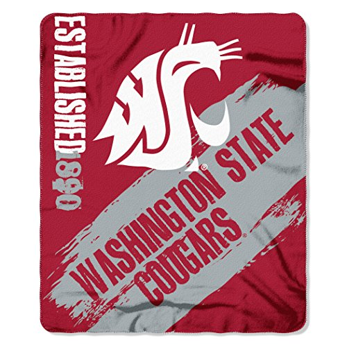 - Officially Licensed NCAA Washington State Cougars Painted Printed Fleece Throw Blanket, 50