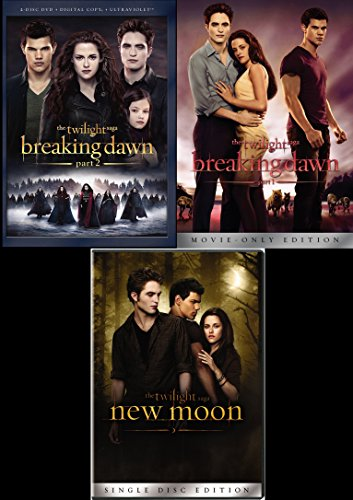 Twilight New Moon + Breaking Dawn Part 1 & Part 2 DVD 3 Movie Edition Saga set (2 Part Dawn Breaking Movie)