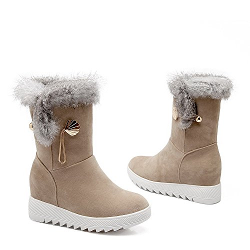 Allhqfashion Womens Frosted Round Closed Teen Kitten Hakken Pull On Solid Beige Laarzen