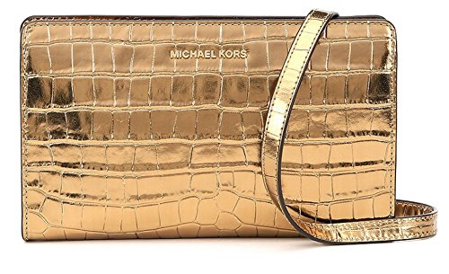 Michael Kors Jet Set Travel Metallic Embossed-Leather - Crossbody Clutch - Gold - 32F7MF5C3K-710 710 Clutch