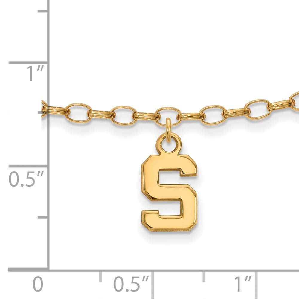 Roy Rose Jewelry Sterling Silver with 14K Yellow Gold-plated LogoArt Michigan State University Anklet