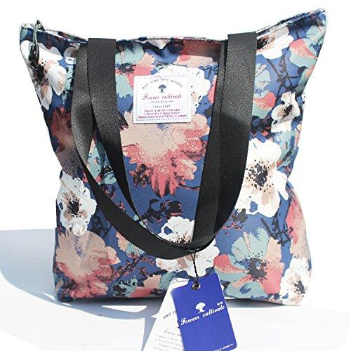 Original Floral Tote Bag Shoulder Bag for Gym Hiking Picnic Travel Beach (Floral Beach Bag)