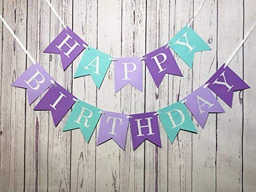 Purple And Turquoise Decorations (Glitter Mermaid Under The Sea Happy Birthday Banner Baby Girl Boy Birthday Party)