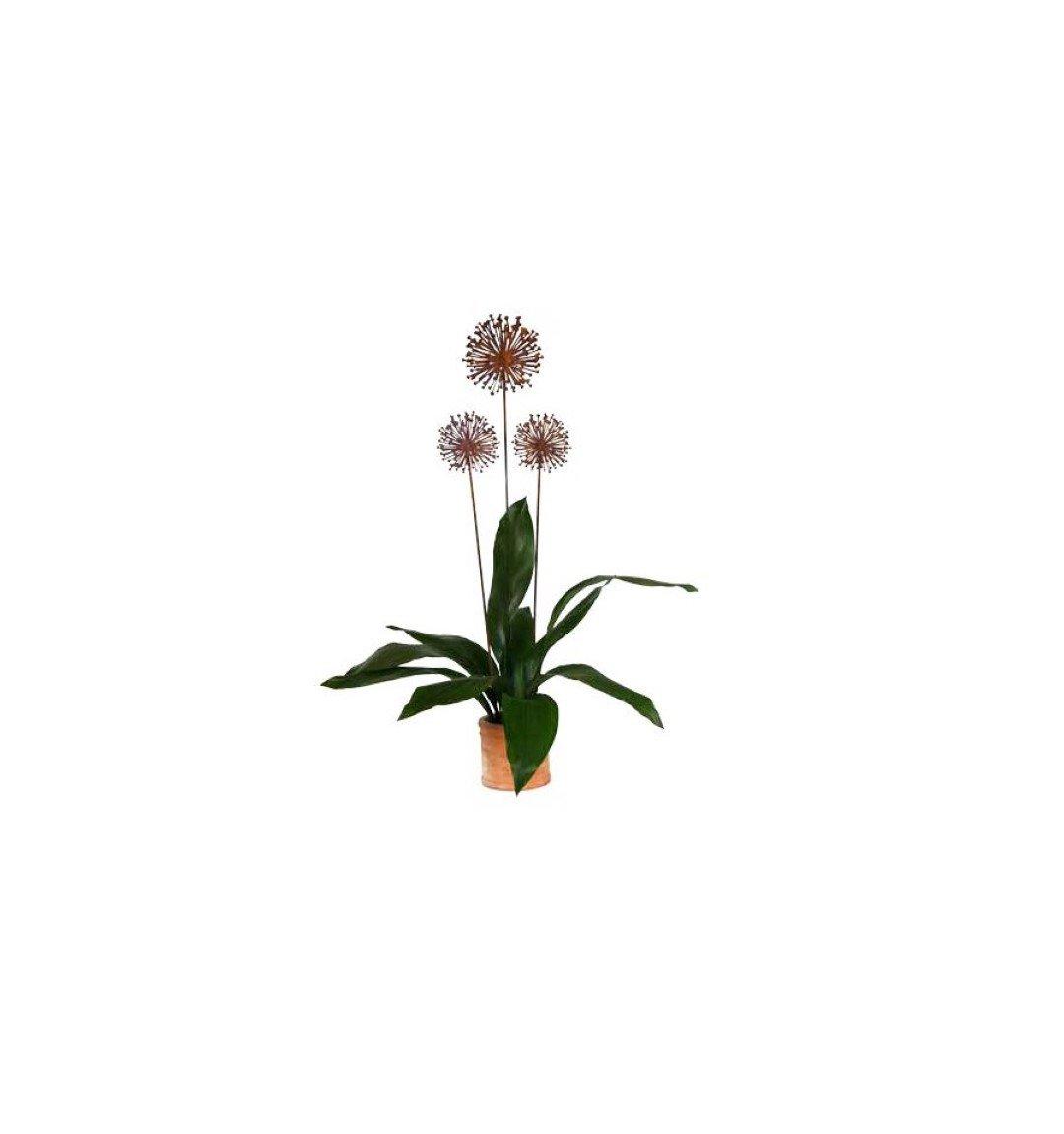 Metallmichl Edelrost Blumenstecker Allium 20 cm Durchmesser (flach ...