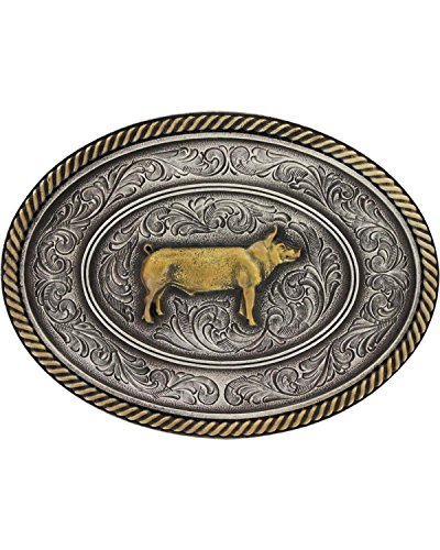 Montana Silversmiths Men's Prize Pig Classic Impressions Attitude Belt Buckle Multi One Size (Multi Buckle Belt)