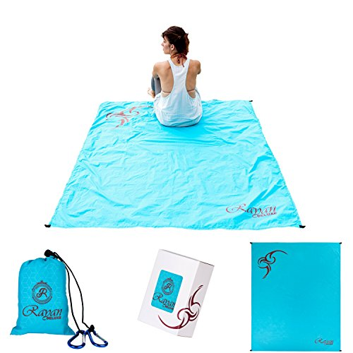 Picnic Beach Pocket Blanket | Waterproof & Sand Proof Outdoor Blanket | Compact Ultralight Travel Blanket | Portable Lightweight Large 70'x56' Dimensions Soft Blanket | Matching Accessories Included