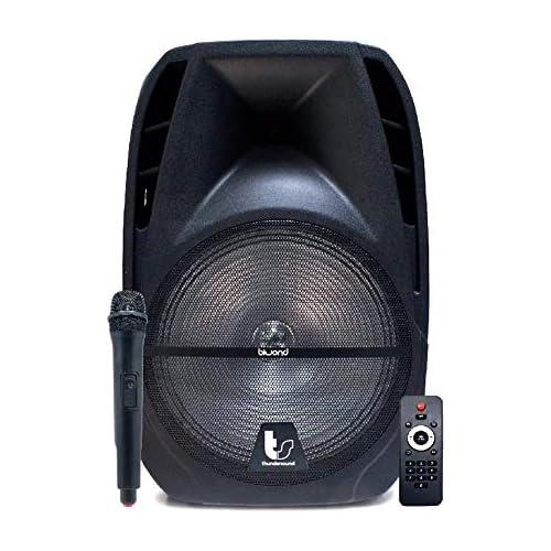 chollos oferta descuentos barato Biwond Thundersound Altavoces Autoamplificados 470W TS15 Bluetooth USB SD AUX Jack Micrófono inalámbrico RMS 260W Radio LCD Echo Rec Negro