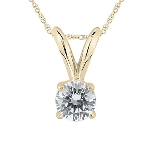 AGS Certified 1 5 Carat Round Diamond Solitaire Pendant in 14K Yellow Gold K-L Color, I2-I3 Clarity