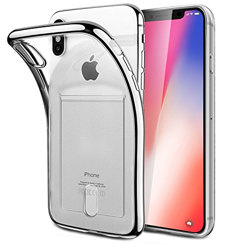 iPhone X Case,FOGEEK [Slim Fit][Wireless Charger Compatible] Protective Soft TPU Anti-Scratch & Shock-Absorbing Flexible Bumper Case with Card Slot Compatible for Apple iPhone X