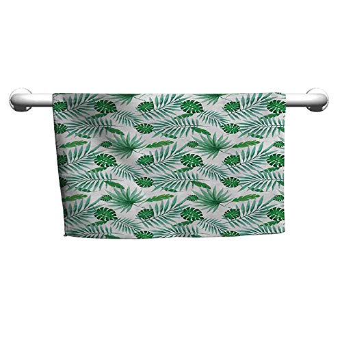 duommhome Green and White Water-Absorbing Bath Towel Polynesian Aloha Watercolor Style Monstera Palm Leaves Luau W12 x L35 Green and Almond Green