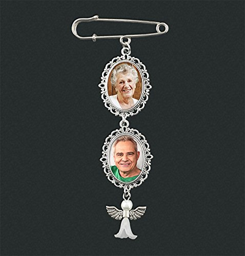 Wedding Boutonniere Angel Photo Charm Pin Brooch Cascading Double Frame for Mother of Bride or Groom or Flower Bouquet ()