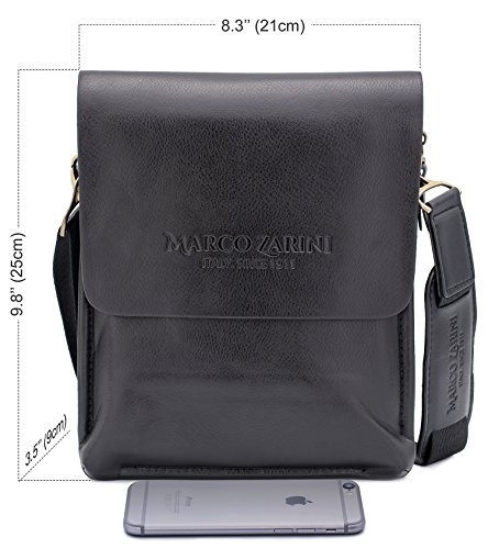 Marco Zarini Crossbody Bag For Men Eco Leather Briefcase Shoulder Bag Messenger Bag For iPad Mini (Black)