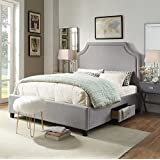 Iconic Home Louis Contemporary Light Grey Linen Platform Storage Bed, Queen