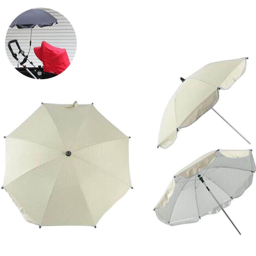a.bクルーBaby Stroller UV保護サンシェード傘360度調節可能な方向ベビーカーパラソル  ホワイト B01D2WOM2Y