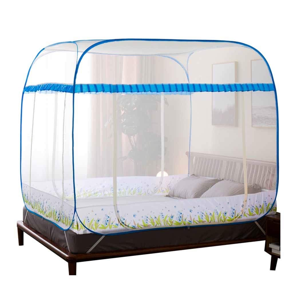 Mosquito Net Blue Pop Up for Bed Travel, Square Polyester Insect Netting Over Size, 3 Door Mosquito Curtains for Baby Toddlers Kids Adult (Size : 1.5m (5 ft) Bed)