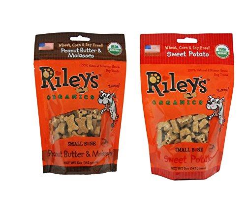 Rileys Organics - Peanut Butter & Molasses and Sweet Potato Organic Small Dog Treats - 5 oz Bags