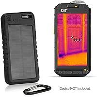 CAT S60 Battery, BoxWave [Solar Rejuva PowerPack (5000mAh)] Solar Powered Backup Power Bank for CAT S60 - Jet Black