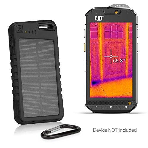 BoxWave CAT S60 Battery, [Solar Rejuva PowerPack (6000mAh)] Solar Powered Backup Power Bank for CAT S60 - Jet Black