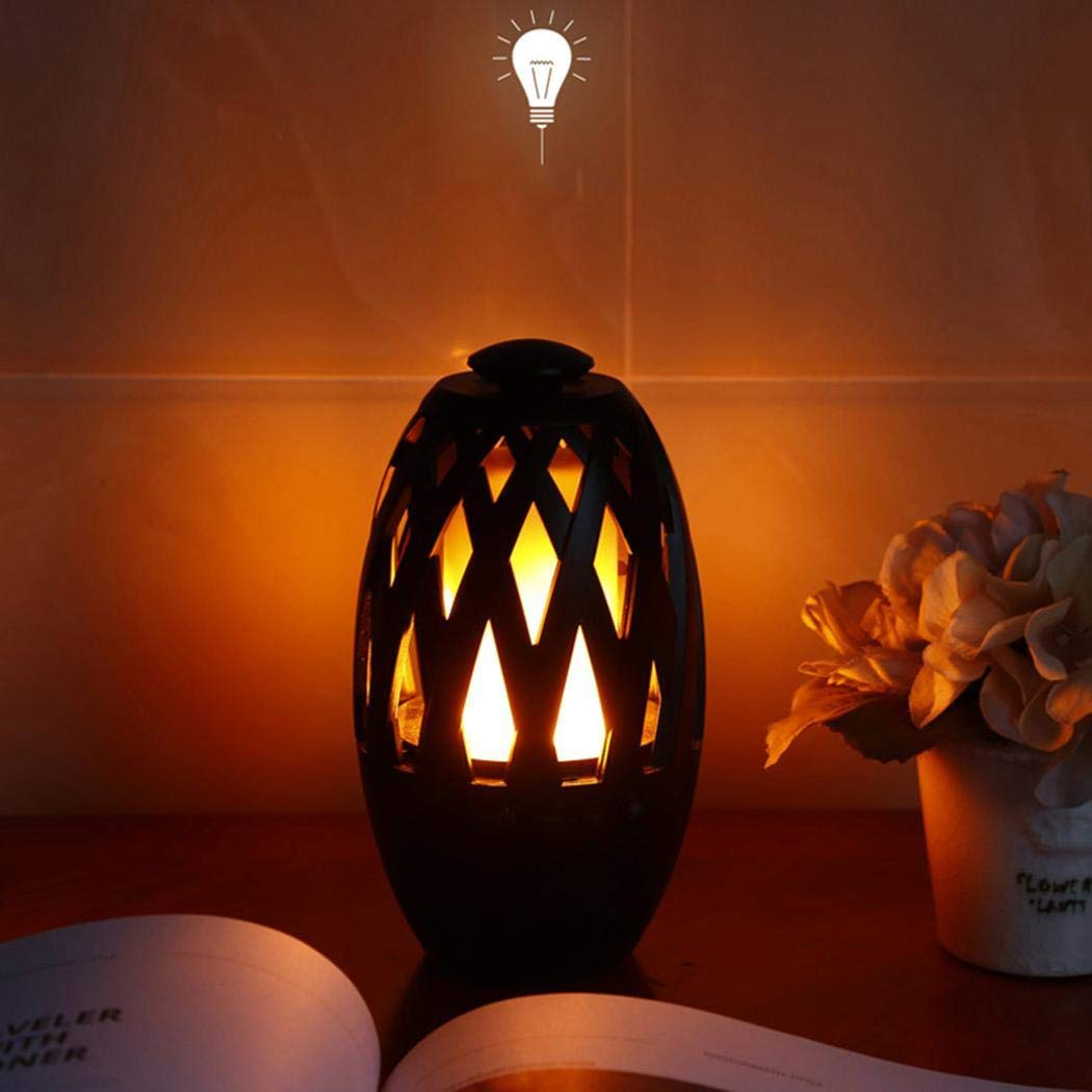 Onbio USB Charging Portable TF Card Flame LED Lamp Wireless Bluetooth Speaker Table Lamps by Onbio (Image #3)