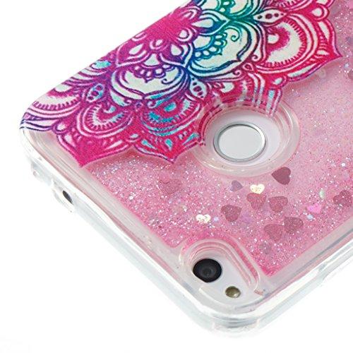 Trumpshop Smartphone Carcasa Funda Protección para Huawei P8 Lite (2017) + A Pretty Dream + TPU 3D Liquido Dinámica Sparkle Estrellas Quicksand Resistente a arañazos Caja Protectora dos Flores