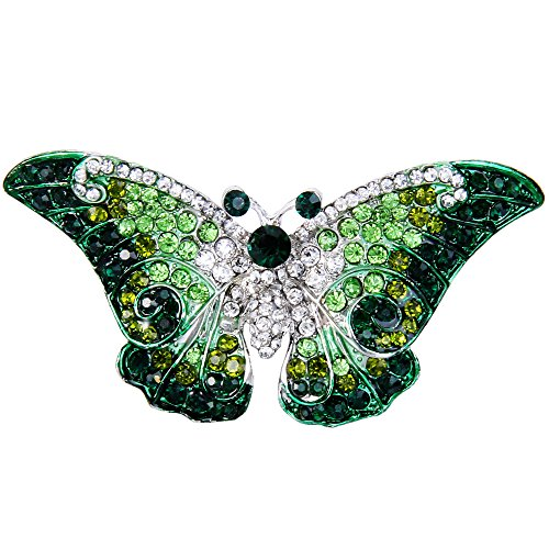 EVER FAITH Women's Austrian Crystal Cute Butterfly Insect Brooch Green Silver-Tone