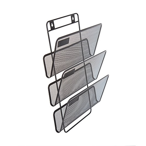 Comix Wall Mount Document Letter Tray with 3 Organizers, Wired Mesh Design, Durable Metal - Black by Comix