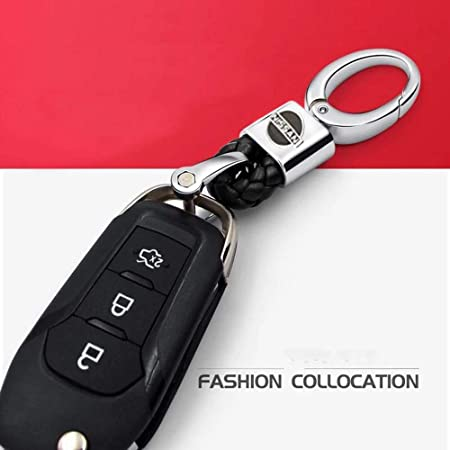 VILLSION 2Pack Genuine Leather Nissan Key Chain Car Logo Keychain Auto Decoration Gift