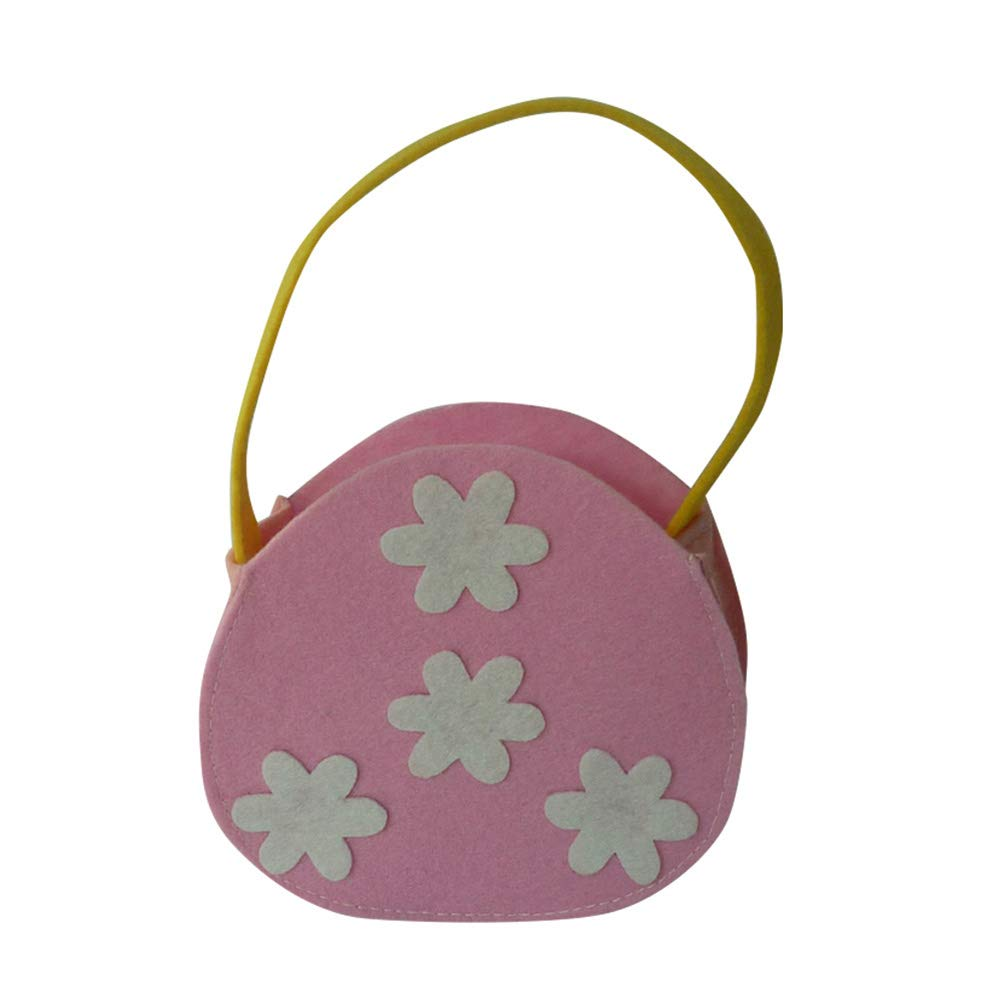 Aland-Portable Handled Easter Flower Candy Box Festival Party Decor Gift Bag Pouch - Pink