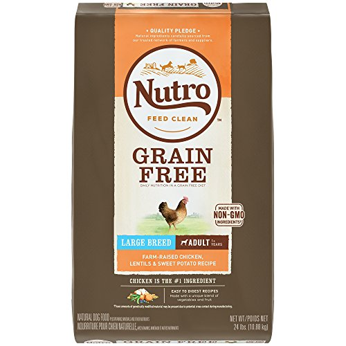 Nutro Grain Free Large Breed Adult Farm-Raised Chicken, Lentils And Sweet Potato Dry Dog Food 24 Pounds