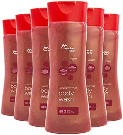 Mountain Falls Body Wash, Island Retreat, with Coconut Milk and Exfoliating Pomegranate Seeds, Compare to Caress, 18 Fluid Ounce (Pack of 6)