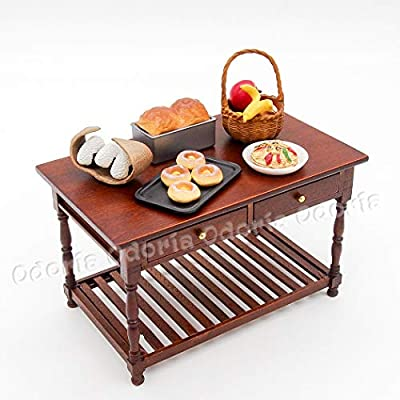 Odoria 1:12 Miniature Brown Kitchen Table with Storage Shelf and Drawers Dollhouse Furniture Accessories: Toys & Games